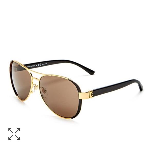 13625694fd09 NWT Tory Burch Brow Bar Aviator Sunglasses Black